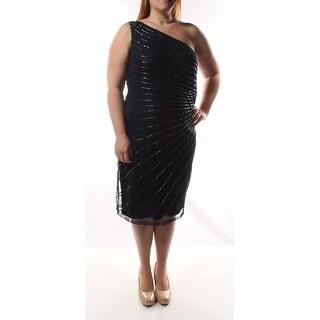 $1RALPH LAUREN black Striped Asymetrical Neckline Party Shift Dress 12 B+B