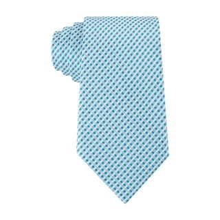Geoffrey Beene Micro Gingham Check Classic Necktie Blue and White Tie