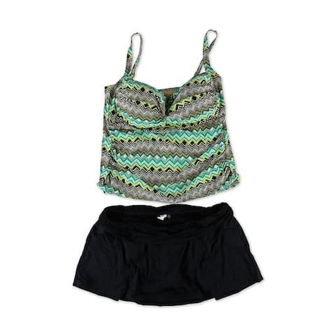 La Blanca Womens Sahara Chevron Skirt 2 Piece Tankini, Green, 22