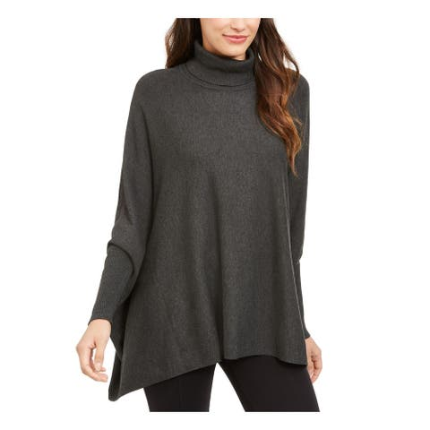 ALFANI Womens Gray Long Sleeve Turtle Neck PONCHO Sweater Size S