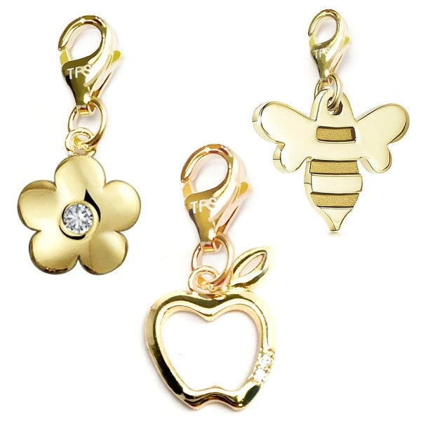 Julieta Jewelry Apple, Flower, Bee 14k Gold Over Sterling Silver Clip-On Charm Set