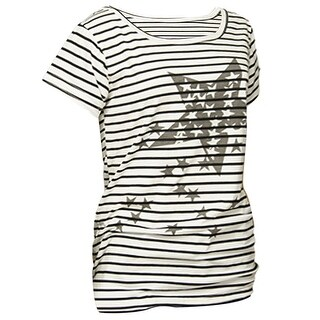Unique Bargains Ladies Star Print Black White Horizonal Striped Shirt S