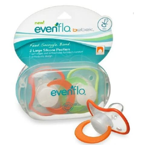 Pair of 2 - Large Silicone Pacifiers for Babies over 6 months - Orthodontic Design - 6 Months +