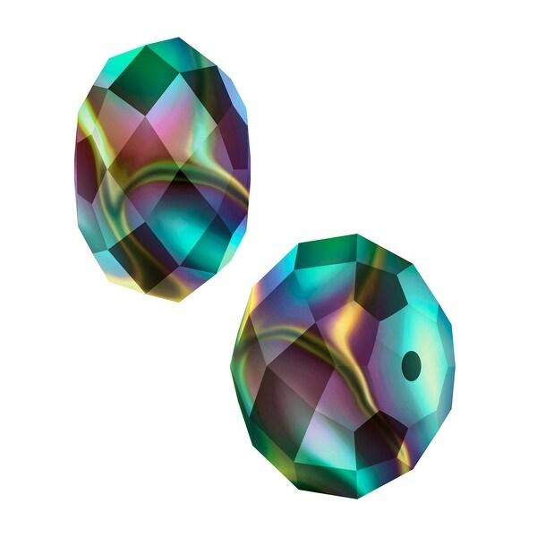 Swarovski Elements Crystal, 5040 Rondelle Beads 6mm, 10 Pieces, Crystal Rainbow Dark 2X