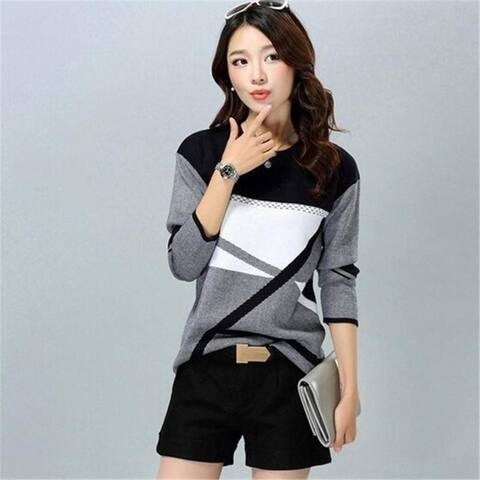 Women Casual O-Neck Cashmere Pullover Sweaters