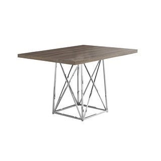 Monarch Specialties I 1057 48 Inch Wide Wood Top Metal Dining Table - N/A