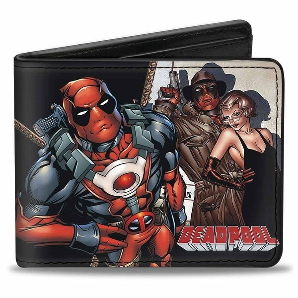 Marvel Universe Deadpool Pose W Girl + Seated Spotlight Pose Bi Fold Wallet - One Size Fits most