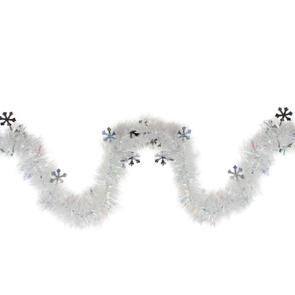 12' Iridescent Christmas Tinsel Garland with Silver Holographic Snowflakes - Unlit