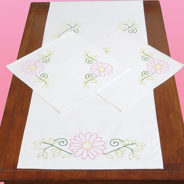 Stamped Dresser Scarf & Doilies Perle Edge-Daisies