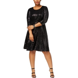 Calvin Klein Womens Plus Cocktail Dress Fit & Flare Party