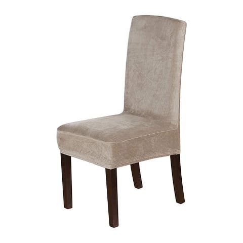 Enova Home Soft Thick Solid Velvet Fabric Stretchy Universal Dining Chair Slipcovers