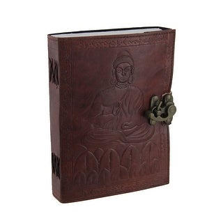 Embossed Leather Meditating Buddha 120 Leaf Diary Journal with Lock - Brown