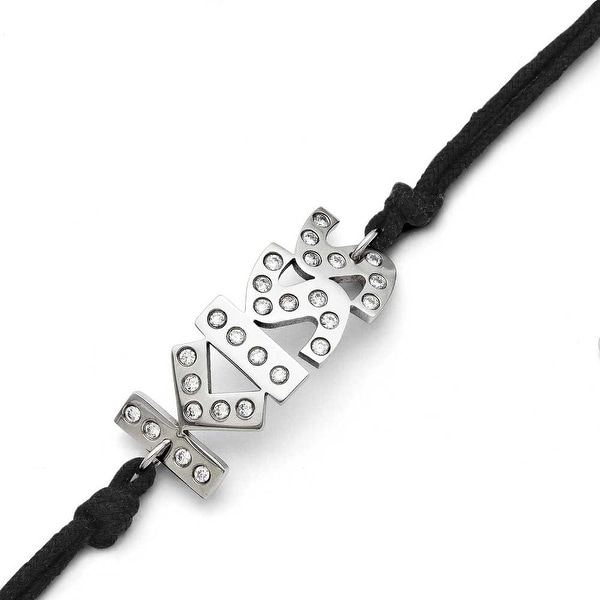 Chisel Stainless Steel CZ Kiss with 1.75ext Bracelet