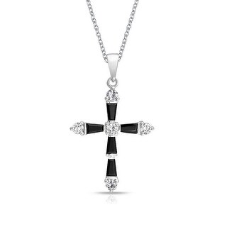 CZ Black Baguette Cross Pendant Rhodium Plated Necklace 18 Inches