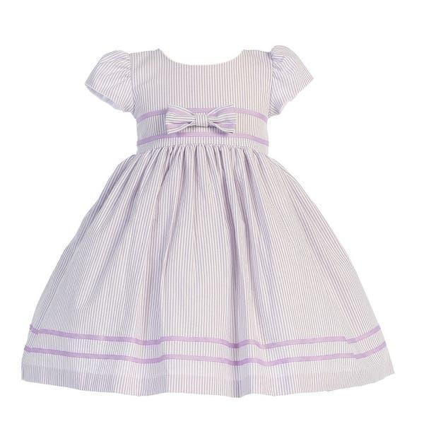 08a3698975fc8 Lilac Stripe Short Sleeve Seersucker Easter Dress Girls 3M-4T