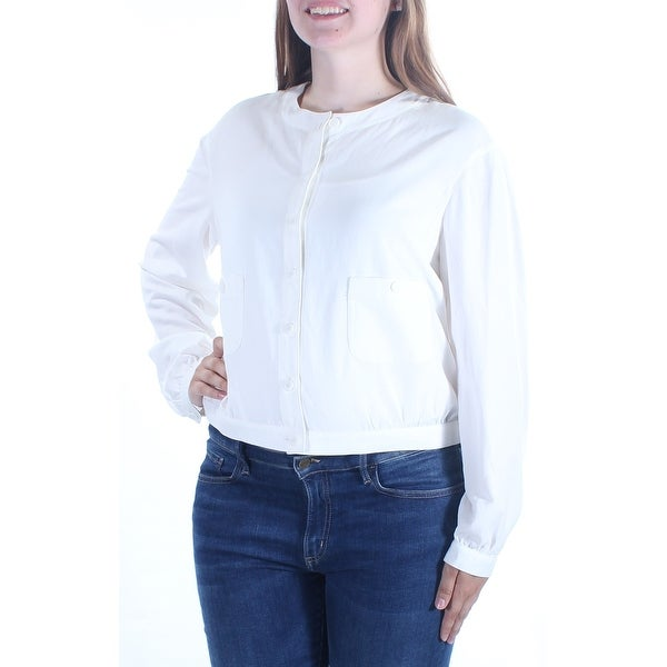 5356eaf37 Shop ANNE KLEIN Womens White Long Sleeve Crew Neck Button Up Top Size: 14 -  On Sale - Free Shipping On Orders Over $45 - Overstock - 21311955