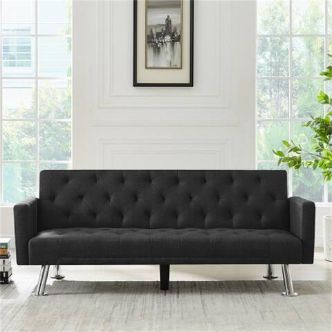 Modern Style Black Fabric Futon Sofa Bed,Folding Sleeper Sofa Couch