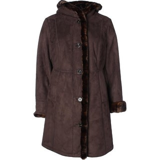 Gallery Womens Plus Coat Faux Suede Faux Fur Trim