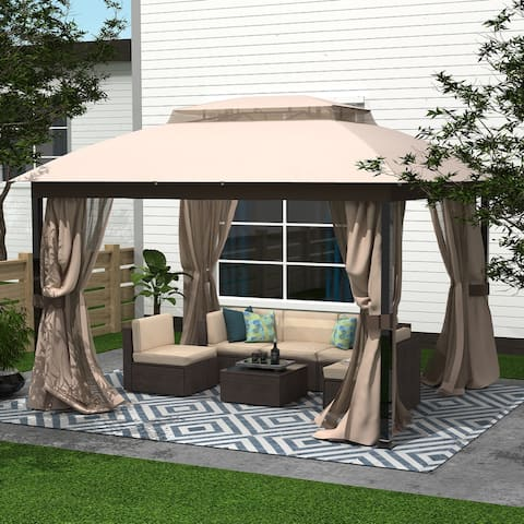 Amarantos Gazebo with Mosquito Netting Outdoor Gazbeo Canopy 10x12 Double Roof Vented, Sand