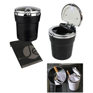 JAVOedge Auto Car Cigarette Portable Ashtray Fit Most Cup Holder with Built-in LED Light - Black