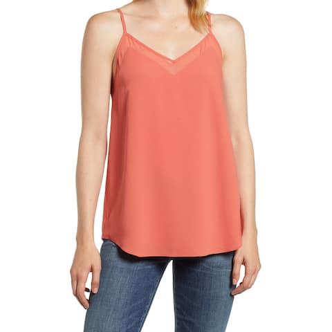 1.State Desert Rose Orange Womens Size Large L V-Neck Sleeveless Blouse