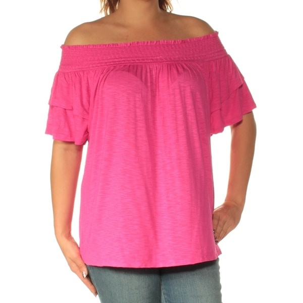 3228f84fa0694 Shop INC Womens Pink Short Sleeve Off Shoulder Top Size  L - On Sale - Free  Shipping On Orders Over  45 - Overstock.com - 22428128