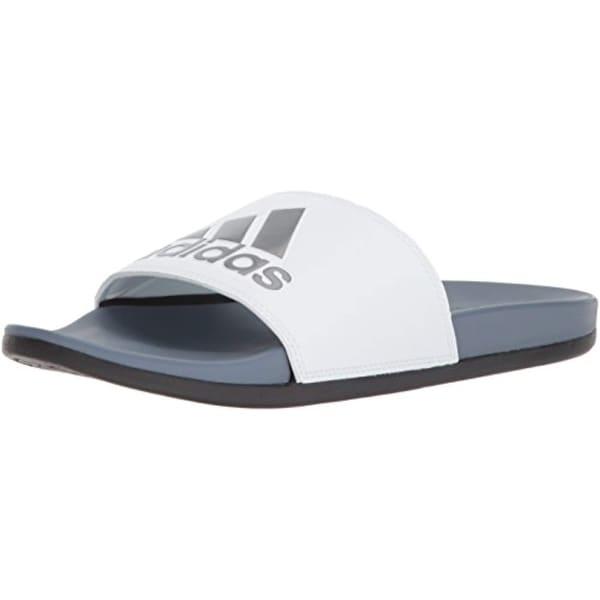 7f78b9e6c9303 adidas Men's Adilette Comfort Slide Sandal, raw Steel/White/Black, 10 M US