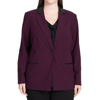 Calvin Klein NEW Purple Womens 18W Plus Faux-Leather One-Button Jacket