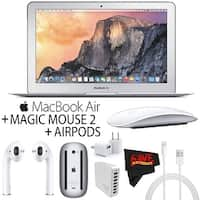 Apple 11.6-Inch MacBook Air (Early 2015) with Airpods and Mouse