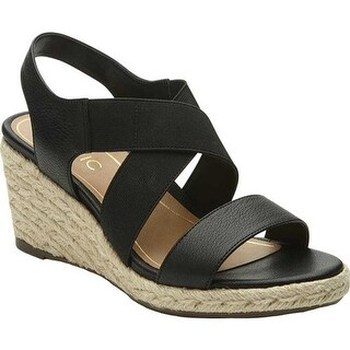Vionic Women's Ainsleigh Strappy Wedge Black Leather