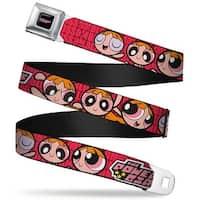 The Powerpuff Girls Black White Pink Full Color Blossom Poses Red Webbing Seatbelt Belt