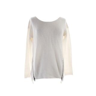 Bar Iii New Washed White Long-Sleeve Double-Zipper Sweater M
