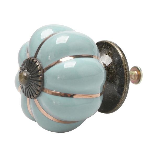Ceramic Vintage Knob Pumpkin Pull Handle Cupboard Wardrobe Dresser Light Blue - Light Blue - 1pcs