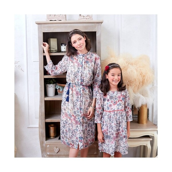 255508fa6f Shop Girls White Pink Flower Print Ribbon Back Lace Waistband Dress ...