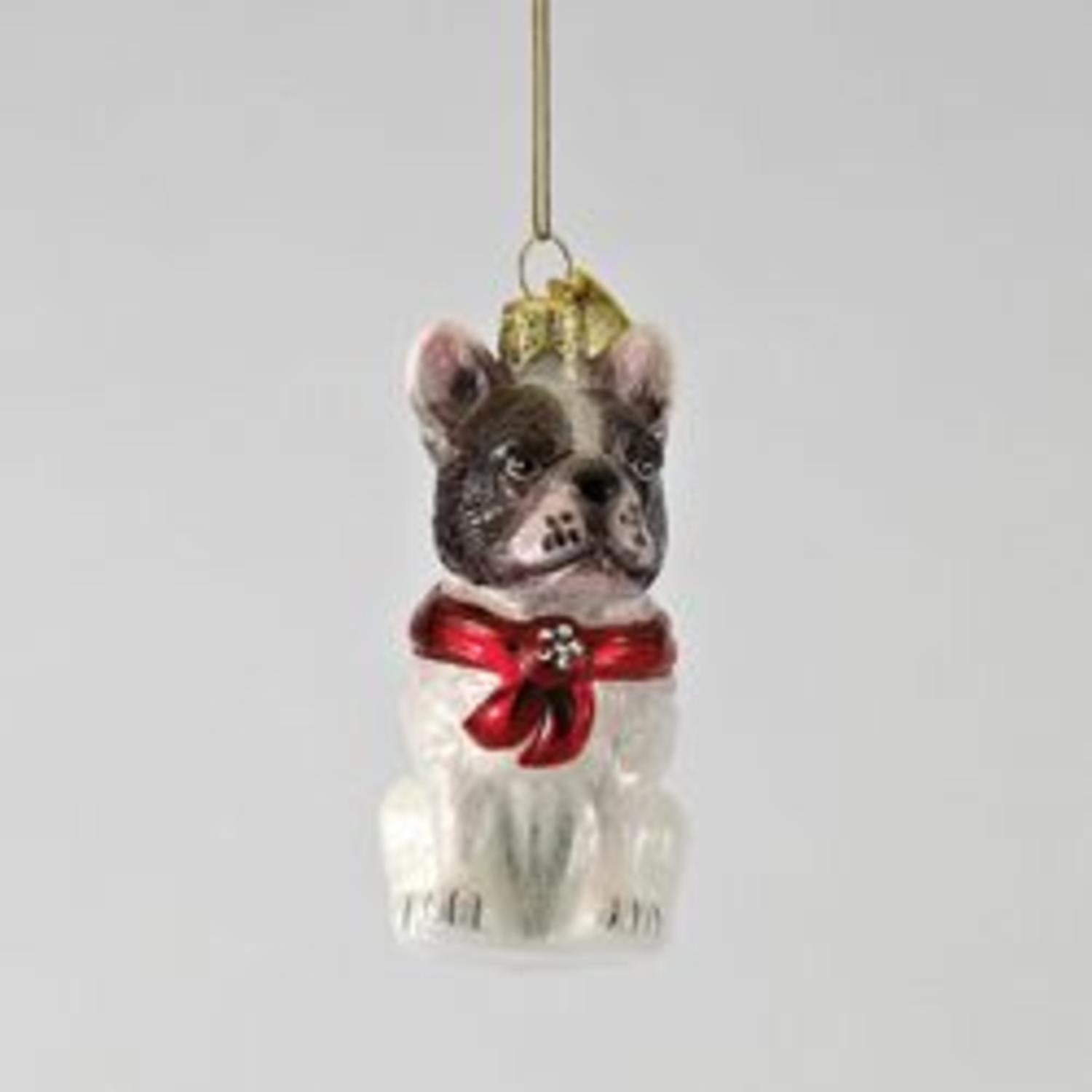 French Bulldog Christmas Ornament.Pack Of 6 Noble Gems Glass French Bulldog With Red Holiday Bow Christmas Ornaments 3 5