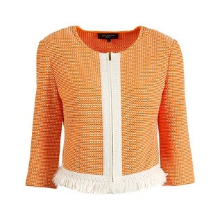 St John Womens Textured Fringe Hem Jacket - 10