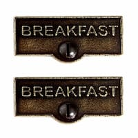 2 Switch Plate Tags BREAKFAST Name Signs Labels Cast Brass | Renovator's Supply