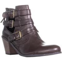 G By Guess Gavin Double Buckle Ankle Boots, Dark Brown