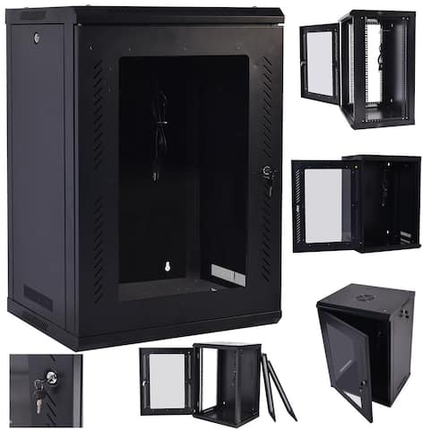 Costway 18U Wall Mount Network Server Data Cabinet Enclosure Rack - Black