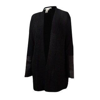Studio M Women's Faux Leather Trim Open Shawl Cardigan - Black - xs