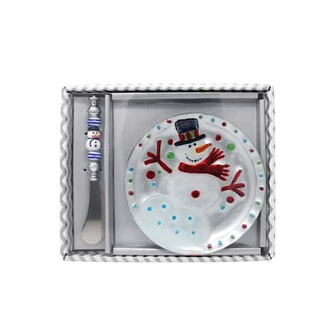 """6"""" White and Stainless Steel Snowman Platter and Knife Hostess Set"""