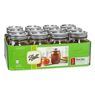 Ball 61000 Regular Mouth Glass Mason Jars with Lids & Bands, Pint, 12-Count