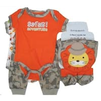 Nuby Boy Baby Boys Orange Funny Safari Print Bodysuit Bib Booties Pants Set 0-9M