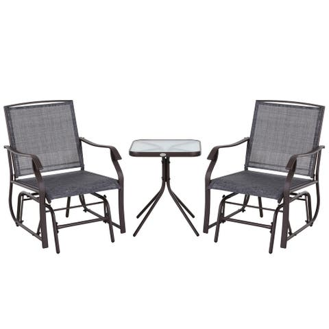 Makan 3-piece Fabric Glider Chair with Table Set by Havenside Home