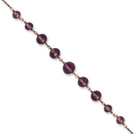 Rosetone Purple Crystal Bead Necklace - 16in