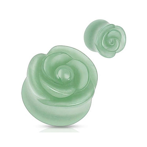 Green Aventurine Semi Precious Stone Rose Carved on Single Side Double Flared Plug (Sold Individually)