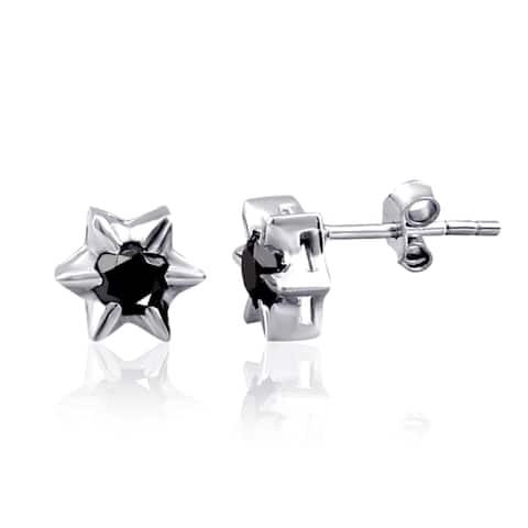 Black Diamond Sterling Silver Round Stud Earrings by Diacrown