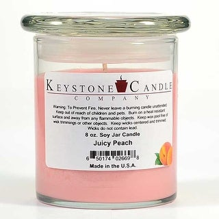 1 Pc  8 oz Juicy Peach Soy Jar Candles 3.5 in. diameter x 4 in. tall