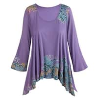 Women's Tunic Top - Hand Printed Floral Long Side Hem 3/4 Sleeve - Iris
