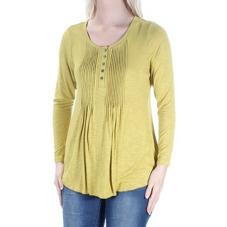 Womens Green Long Sleeve Jewel Neck Casual Top Size S